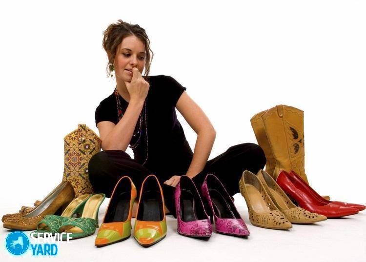 Young pretty lady trys to decide what shoes to wear, decisions